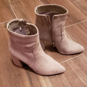 Express Gray Suede Pointed Toe Booties - 6.5